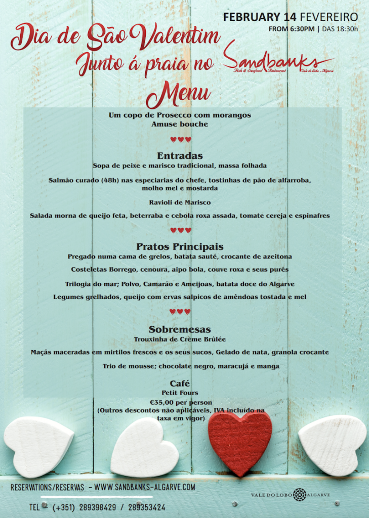 Sandbanks Valentines day menu 2