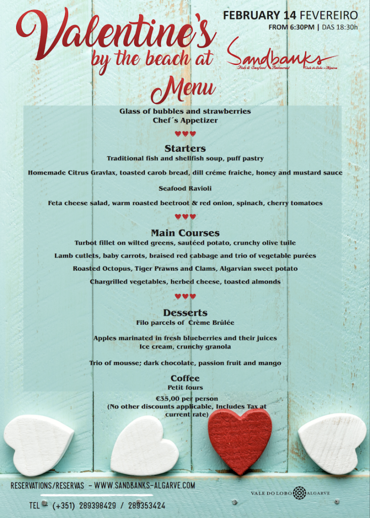 Sandbanks Valentines day menu1